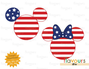 Mickey And Minnie Stars And Stripes Ears - Instant Download - SVG Cut File
