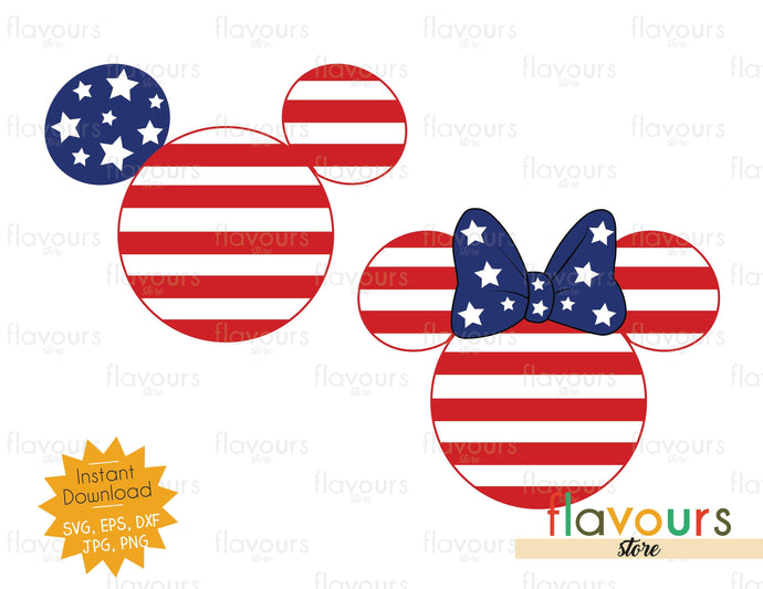 Mickey And Minnie Stars And Stripes Ears - Instant Download - SVG Cut File - FlavoursStore