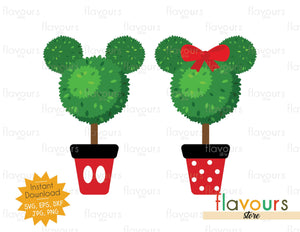 Mickey and Minnie Topiary - SVG Cut File