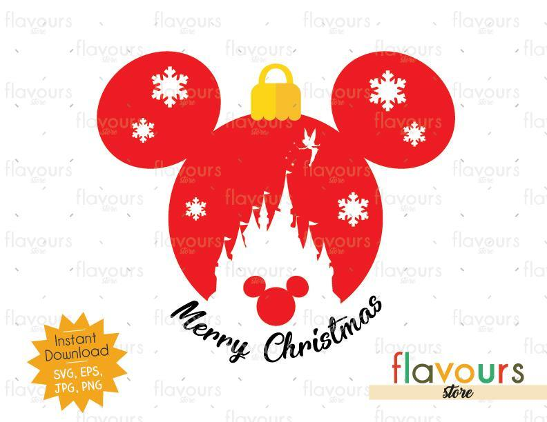 Mickey Castle Merry Christmas Ball - Disney Christmas - Cuttable Design Files (SVG, EPS, JPG, PNG) For Silhouette and Cricut