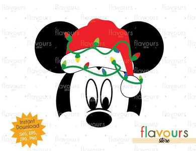 Mickey Christmas Hat And Lights - Disney Christmas - Cuttable Design Files (SVG, EPS, JPG, PNG) For Silhouette and Cricut