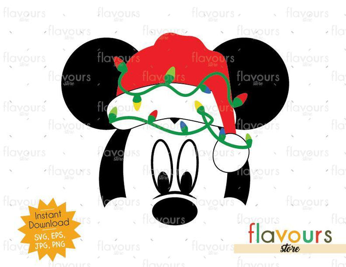 Mickey Christmas Hat And Lights - SVG Cut File