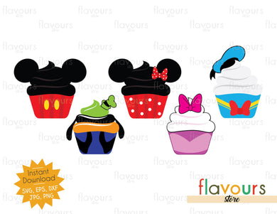 Mickey Club Cupcakes Bundle - Cuttable Design Files (SVG, EPS, JPG, PNG) For Silhouette and Cricut