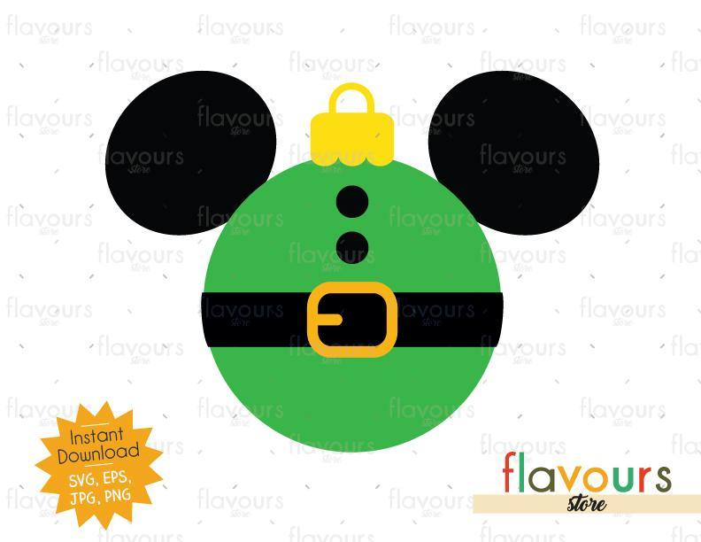 Mickey Elf Christmas Ball - Disney Christmas - Cuttable Design Files (SVG, EPS, JPG, PNG) For Silhouette and Cricut