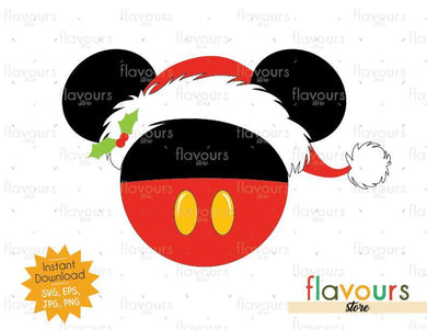 Mickey Santa Hat - Disney Christmas - Cuttable Design Files (SVG, EPS, JPG, PNG) For Silhouette and Cricut