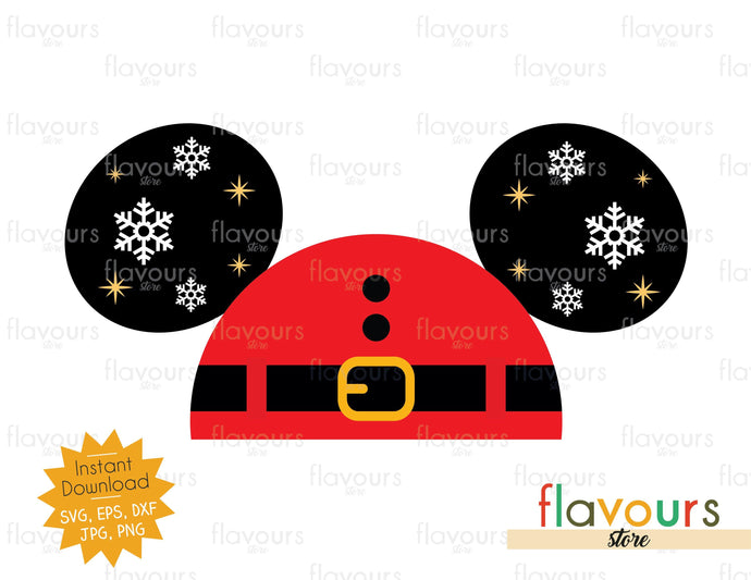 Mickey Santa Hat Ears - Disney Christmas - Cuttable Design Files