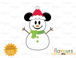 Mickey Snowman - Disney Christmas - Cuttable Design Files (SVG, EPS, JPG, PNG) For Silhouette and Cricut