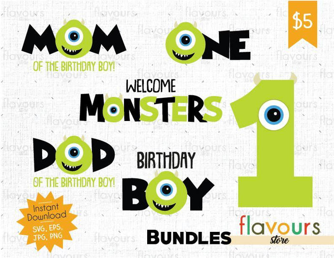 Mike - One - Monsters Inc - Birthday Bundle - Instant Download - SVG Cut File