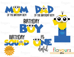 Minion Birthday Boy 1st Birthday Bundle - SVG Cut File