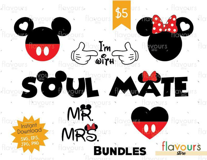 Minnie And Mickey Anniversary - Instant Download - SVG Cut File