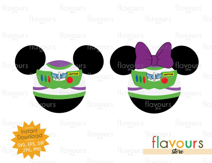 Minnie and Mickey Buzz Ears - Toy Story - SVG File