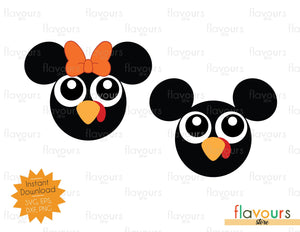 Mickey and Minnie Turkey - Thanksgiving - SVG File - Instant Download
