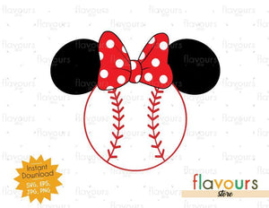 Minnie Baseball Ears - Instant Download - SVG Files