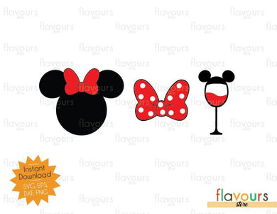 Minnie Bow Wine - Disney Epcot - SVG Cut File - FlavoursStore
