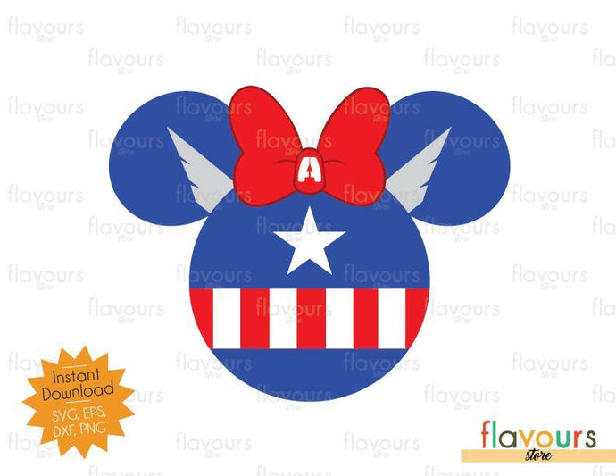 Captain America Minnie Ears - SVG Cut File - FlavoursStore
