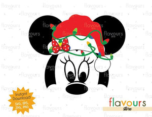 Minnie Christmas Hat And Lights - SVG Cut File