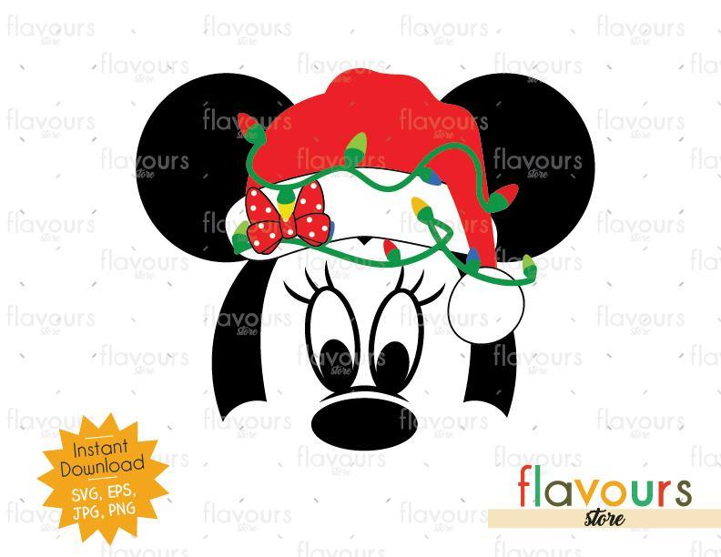 Minnie Christmas Hat And Lights - Disney Christmas - Cuttable Design Files (SVG, EPS, JPG, PNG) For Silhouette and Cricut