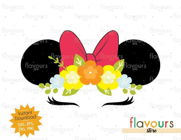 Minnie Floral Ears - Instant Download - SVG Cut File