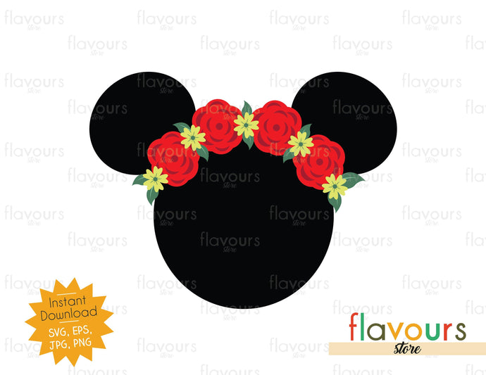 Minnie Flowers Ears - Instant Download - SVG Cut File