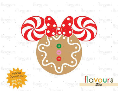 Minnie Gingerbread Ears - Disney Christmas - Cuttable Design Files (SVG, EPS, JPG, PNG) For Silhouette and Cricut