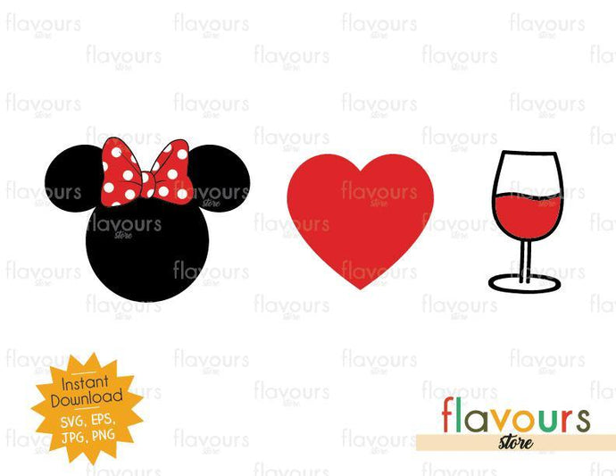 Minnie Heart Wine - Disney Epcot - SVG Cut File