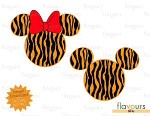 Mickey And Minnie Tiger Pattern - Animal Kingdom - SVG File
