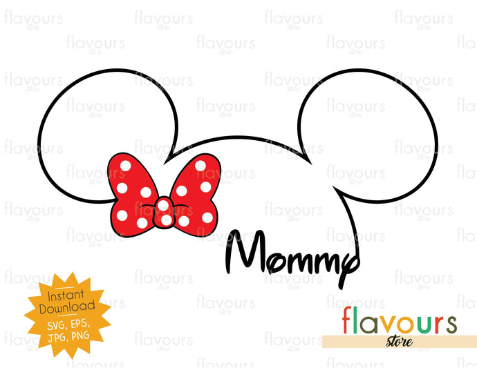 Mommy Minnie Silhouette - Minnie Ears - Instant Download - SVG Cut File