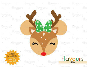 Minnie Reindeer - Christmas - Cuttable Design Files (SVG, EPS, JPG, PNG) For Silhouette and Cricut