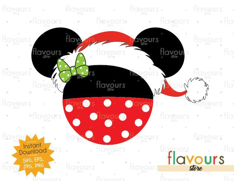 Minnie Santa Hat - Disney Christmas - Cuttable Design Files (SVG, EPS, JPG, PNG) For Silhouette and Cricut