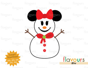Minnie Snowman - Disney Christmas - Cuttable Design Files (SVG, EPS, JPG, PNG) For Silhouette and Cricut