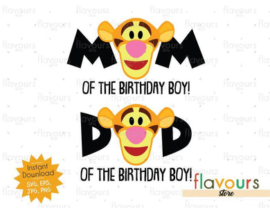 Mom and Dad of the Birthday Boy - Tigger - Winnie The Pooh - Cuttable Design Files