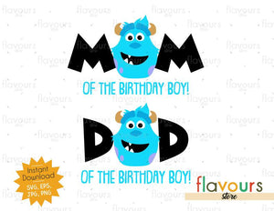 Mom and Dad of the Birthday Boy - Sulley Monster Inc - Instant Download - SVG FILES