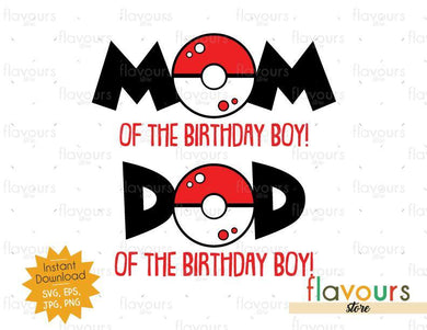 Mom and Dad of the Birthday Boy - Pokeball - Pokemon - Cuttable Design Files