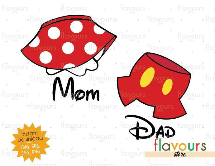 Mom and Dad - Mickey And Minnie Pants and Dress  - Instant Download - SVG Cut File