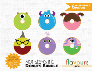 Monsters Inc Donuts Inspired Bundle - Instant Download - SVG Cut File