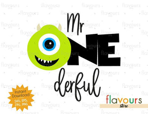 Mr Onederful - Mike Monsters Inc - Instant Download - SVG FILES
