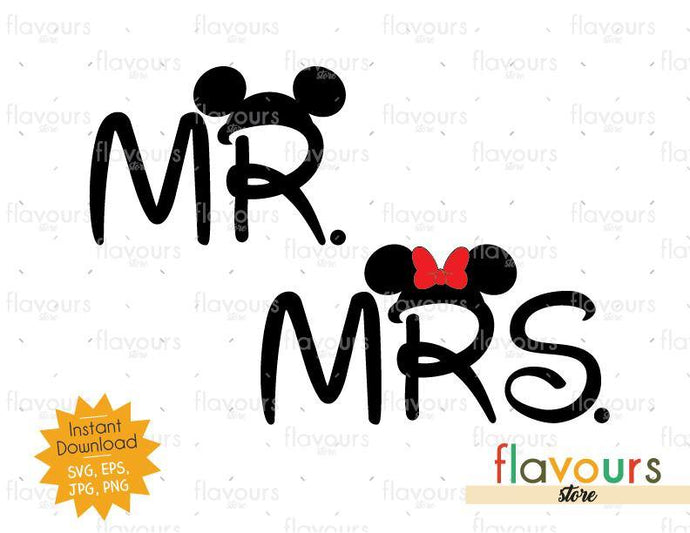 Mrs And Mr Ears - Mickey Ears - SVG Cut File - FlavoursStore
