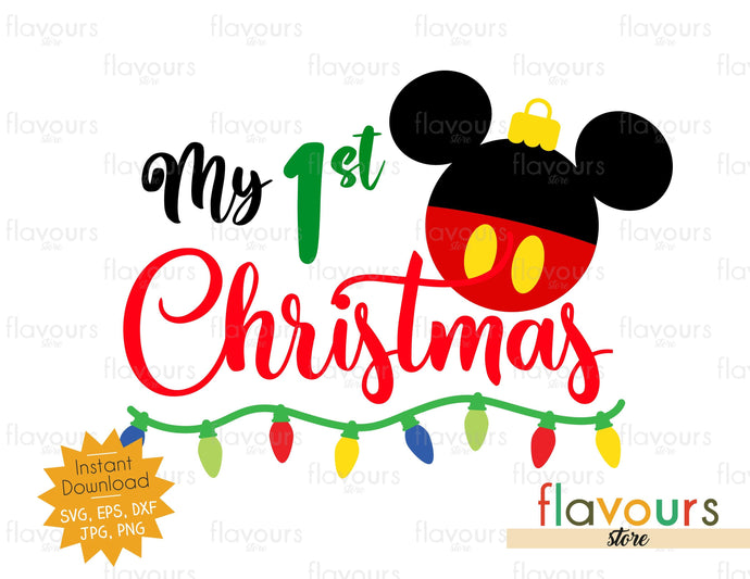 My 1st Christmas - Mickey Ornament - SVG Cut File