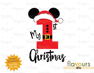 My 1st Christmas Mickey Santa - Disney Christmas - Cuttable Design Files (SVG, EPS, JPG, PNG) For Silhouette and Cricut