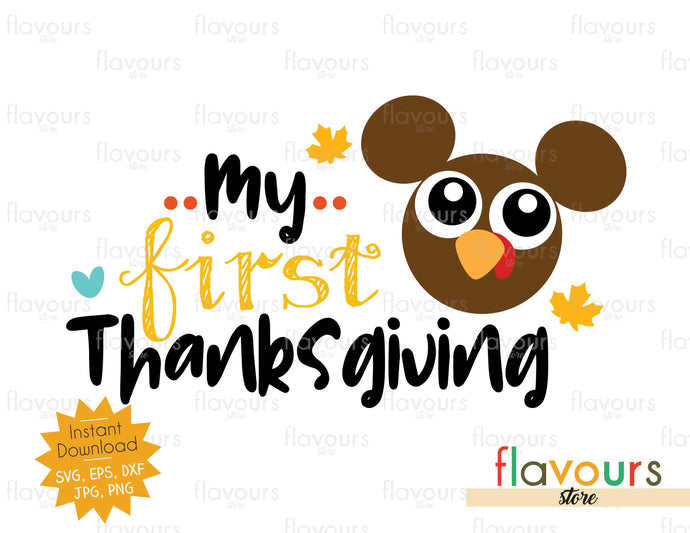 My First Thanksgiving - Mickey Turkey - SVG Files