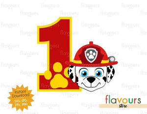 Number 1 - Marshall - Paw Patrol - Instant Download - SVG FILES