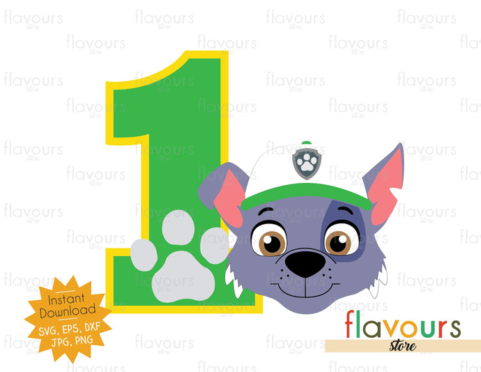 One - Rocky Face - Paw Patrol - Instant Download - SVG FILES