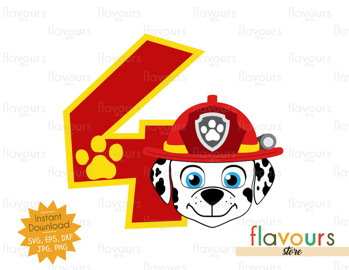 Number 4 - Marshall - Paw Patrol - Instant Download - SVG FILES