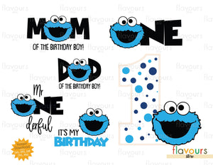 Cookie Monster - 1st Birthday Bundle - Sesame Street - Instant Download - SVG Cut File
