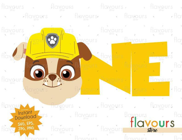 One - Rubble - Paw Patrol - Instant Download - SVG FILES