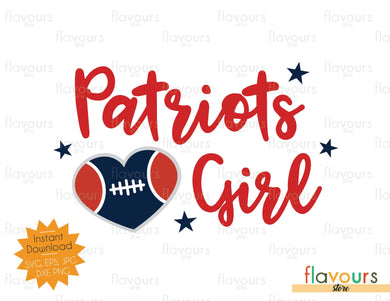 Patriots Girl - Heart - SVG Files - Instant Download