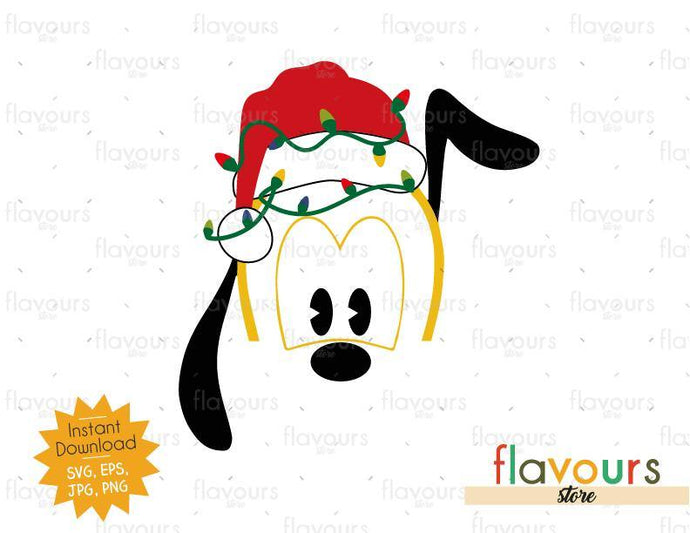 Pluto Christmas Hat And Lights - SVG Cut File