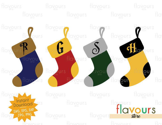 Hogwarts House Christmas Stockings - Potter Fan - SVG Cut File