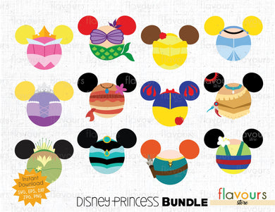 Disney Princess Ears Bundle - Cuttable Design Files