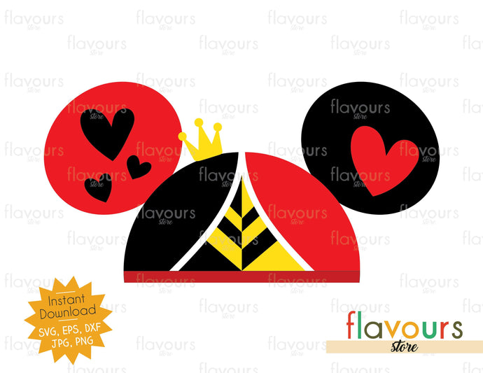 Queen Of Hearts Hat Ears - SVG Cut Files